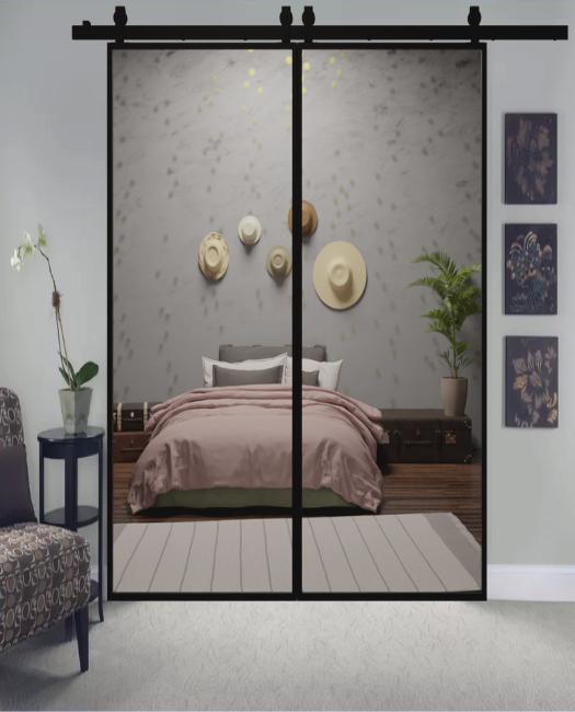 The Fillmore Custom Metal Framed Mirror Double Sliding Bedroom Closet Barn Door