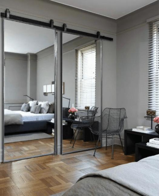 The Fillmore Custom Mirror Double Sliding Barn Door Lifestyle Bedroom