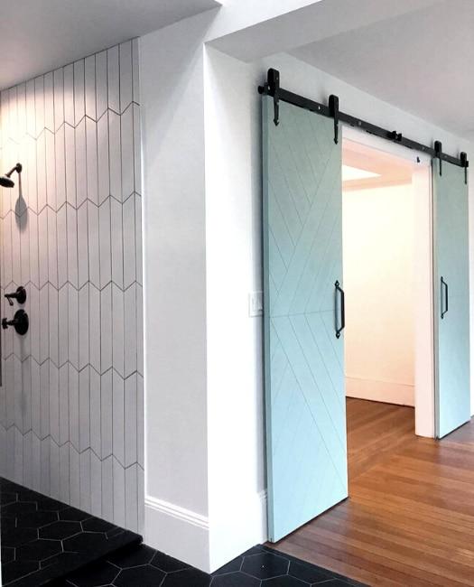 custom paint color modern arrow sliding barn bathroom door
