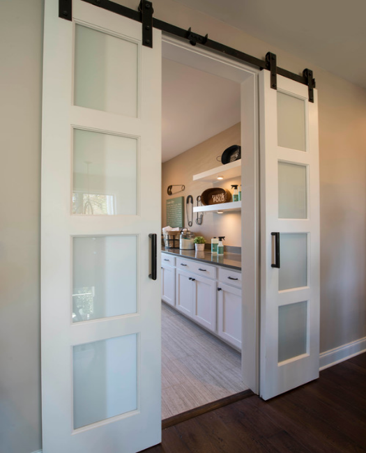 Four Panel Glass Double Sliding Barn Door to master sweet bathroom