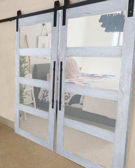 Four Panel Glass Double Sliding Barn Door to Main Bedroom