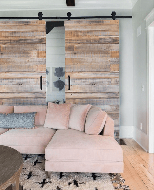 Reclaimed Wood Double Sliding Barn Door living room