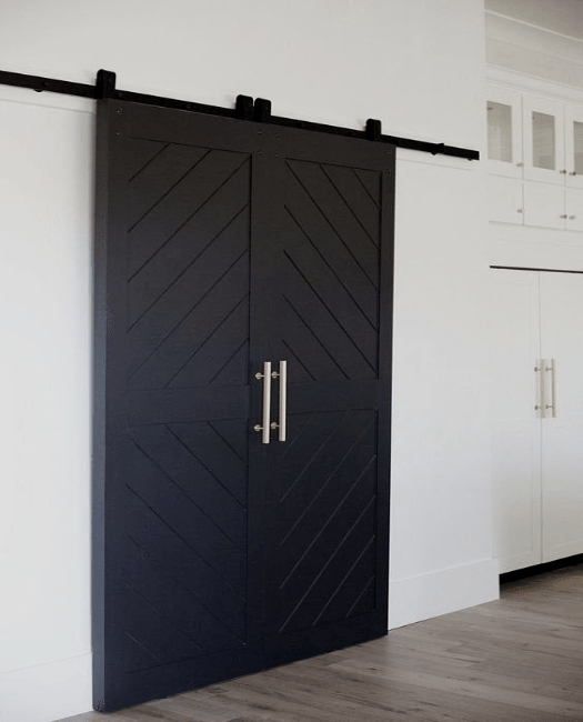 Audrey Two Panel Angle Etched Custom Double Barn Door - Lifestyle Hallway Closet