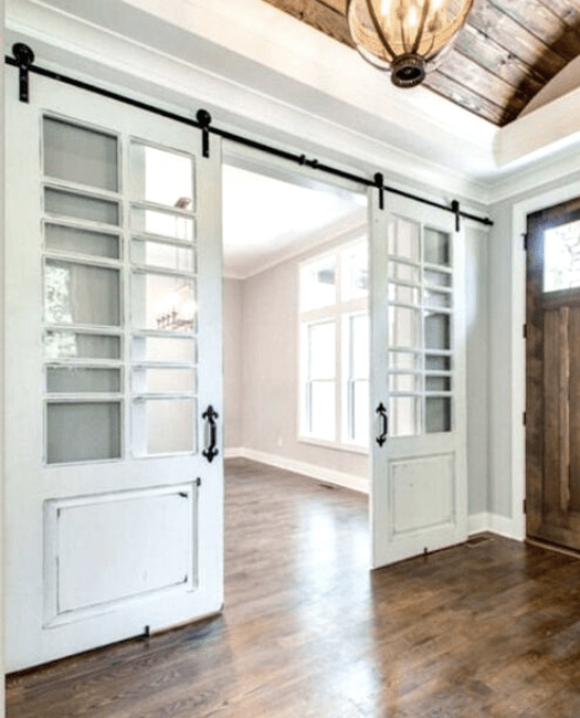 Wyatt Custom Glass Double Sliding Barn Door Lifestyle