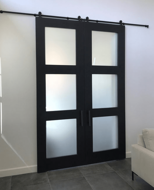 Three Panel Glass Double Sliding Barn Door - LifestyleFrosted