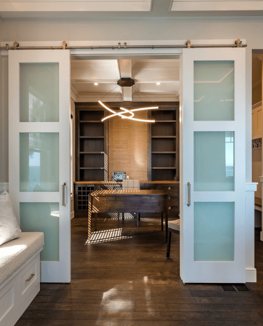 Three Panel Frosted Glass Double Sliding Barn Door - Lifestyle Office