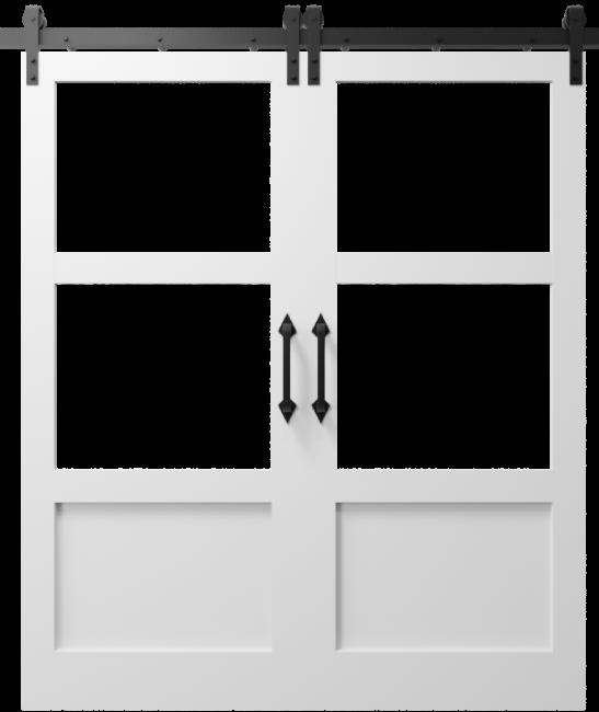 The Elena Cross Rail Window Custom Double Sliding Barn Door