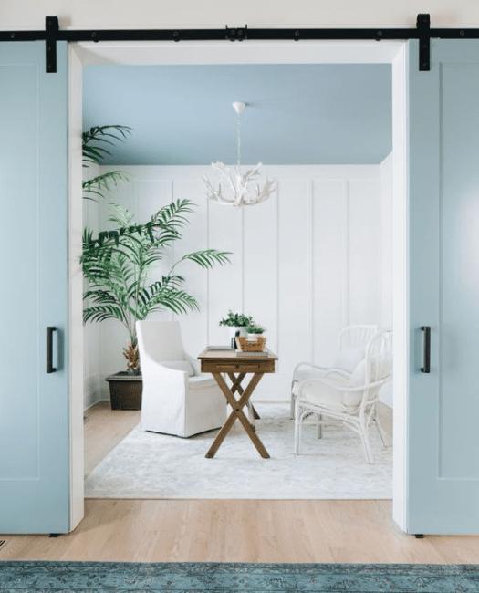 Full Panel Shaker Double Barn Door - Lifestyle Living room