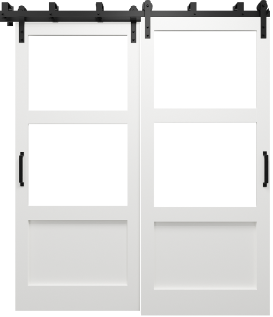 The Elena Cross Rail Window Custom Bypass Sliding Barn Door light grey