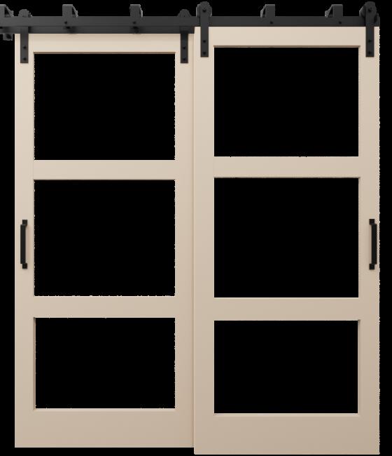 three panel glass barn door with wood frame sand