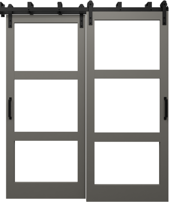 three panel glass barn door with wood frame dusty brown