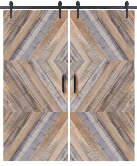 lewis herringbone double reclaimed barn door