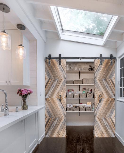 clark reclaimed wood double barn door lifestyle pantry