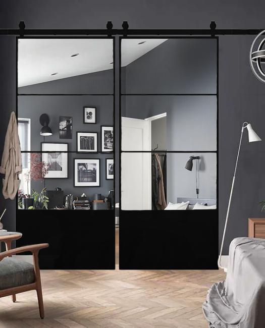 Brielle double mirror barn door lifestyle bedroom