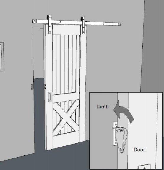 barn door tear drop lock outside
