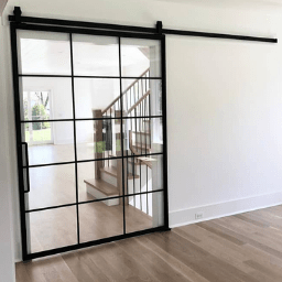 Custom large Size Metal Glass Sliding Barn Door