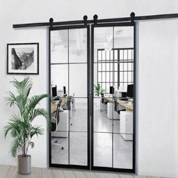 Custom Metal 8 Pane Window French Double Sliding Barn Door 256X256