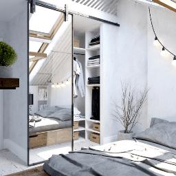Fillmore Custom Metal Framed Mirror Sliding Barn Door Bedroom Closet Lifestyle