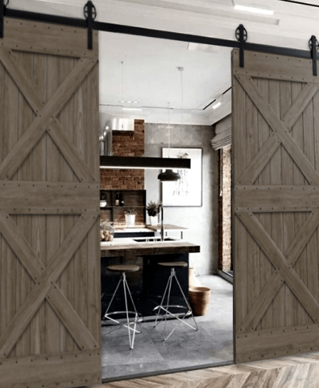 Newport Custom Double Sliding Barn Door  352X544