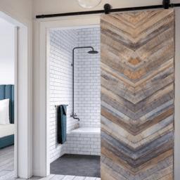 Franklin Reclaimed Wood Barn Door In Gray Lifestyle Bedroom