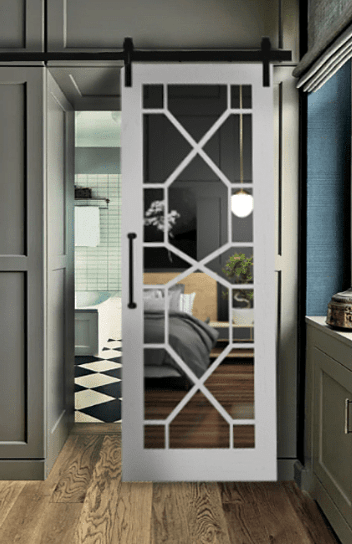The Stacey Wood Frame Mirror with Geometric Grid Sliding Barn Door  352X544