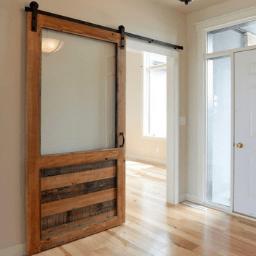 The William Custom Reclaimed Wood With Window Barn Door 256X256