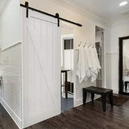 White Wood Bathroom Barn Door