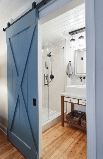 Blue Wood Bathroom Sliding Barn Door