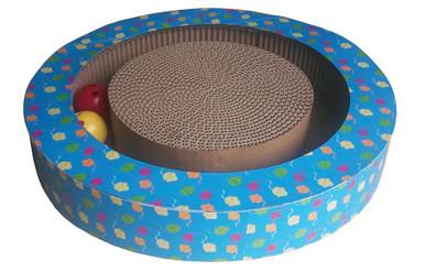 Rund klös i wellpapp med bollar & kattmynta