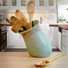 Simply Modern Pottery Collection: Tilted Utensil Jar in Sage Green