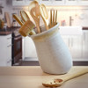 Simply Modern Pottery Collection: Tilted Utensil Jar in Vanilla Wisp
