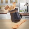 Simply Modern Pottery Collection: Tilted Utensil Jar in Midnight Mocha