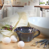 Midnight Blue Stoneware Mixing Bowl with Handle
