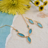 Artisan Glass and Gold-Plated Blue Marquis Necklace + Earrings Set