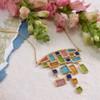 Artisan Glass & Gold Plate Mosaic Statement Necklace