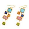 Artisan Glass & Gold Plate Mosaic Earrings