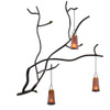 Forged Iron Branch Decorative Wall Sculpture with Hanging Lanterns