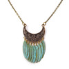 Brass Crescent and Verdigris Copper Fringe Necklace