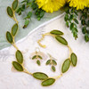 Artisan Glass and Gold-Plated Green Sage Leaf Necklace + Earrings Set