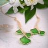 Artisan Glass & Gold Plate Green Ginkgo Necklace