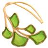 Artisan Glass & Gold Plate Green Ginkgo Leaf Cuff Bracelet