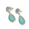 Artisan Glass & Gold Plate Oval Drop Earrings : Teal and Blue