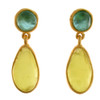Artisan Glass & Gold Plate Oval Drop Earrings : Teal and Lime Green