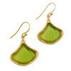 Artisan Glass & Gold Plate Ginkgo Leaf Earrings
