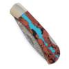 "Damascus Blade 3"" Folding Pocket Knife with Vein Turquoise"