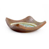 Rustic Earth Flared Stoneware Dish with Glass Geode Accent