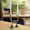Hand-Blown Glass Embracing Candlestick Pair