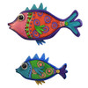 Vibrant Tropical Fish Carved Wood Wall Hanging Set