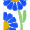 Blue Daisies Fused Glass Suncatcher