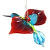 Red and Blue Hummingbird Hanging Glass Figurine